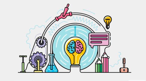 Imagen de vectores que muestra una maquinaria con diferentes elementos relacionados a la ciencia, como un vaso de precipitado, poleas, engranajes y un cerebro dentro de una lamparita.