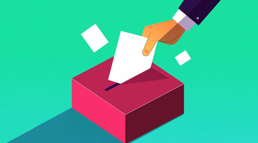 Ilustración de mano depositando sobre con su voto en urna.