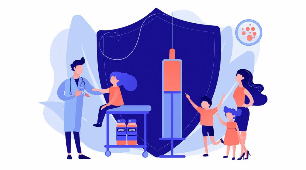 Pediatra dando inyección a niña.